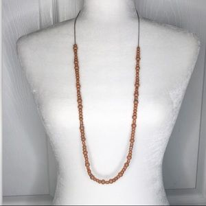 J crew long wooden beaded necklace